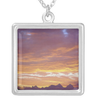 USA, California, Sunset over the Sierra Nevada Silver Plated Necklace