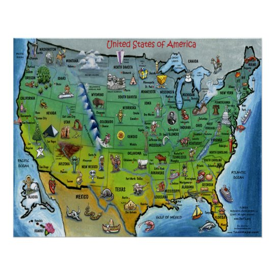 USA Cartoon Large Map Poster