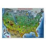 USA Cartoon Map Greeting Cards