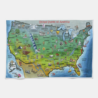 USA Cartoon Map Kitchen Towel