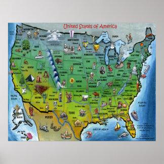 USA Cartoon Map Poster
