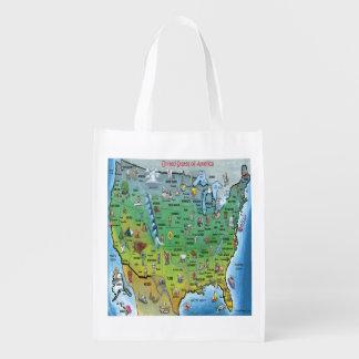 USA Cartoon Map Reusable Grocery Bag