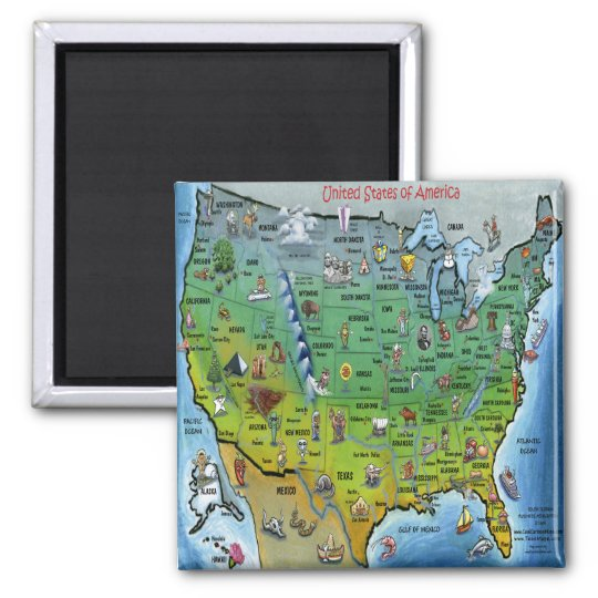 USA Cartoon Map Square Magnet