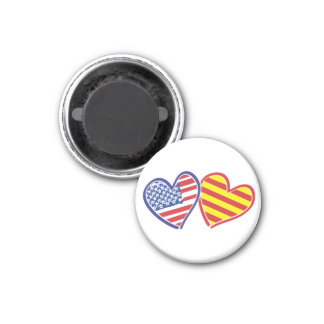 USA Catalonia Patriotic Love Hearts Magnet