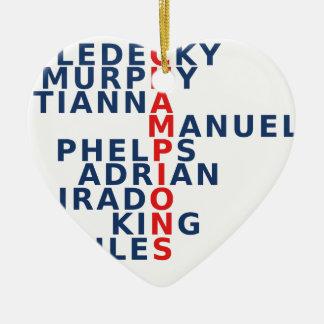 USA CERAMIC HEART ORNAMENT