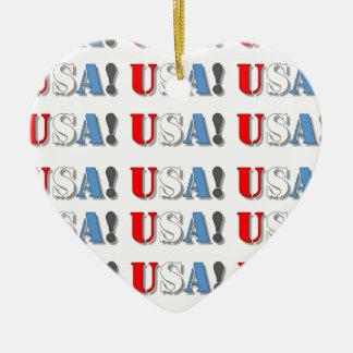 USA! CERAMIC HEART ORNAMENT
