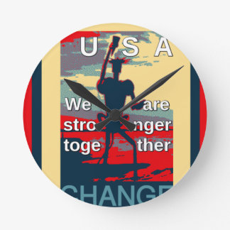 USA Change - We Are Stronger Together Clock
