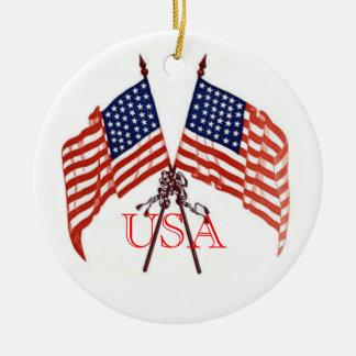 USA Christmas Round Ceramic Ornament