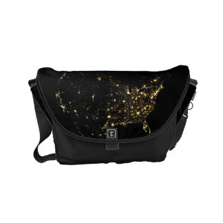 USA City Lights at Night Courier Bag