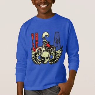 USA Classic Motorcycle Skull With Wings Hoodie