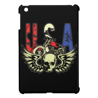 USA Classic Motorcycle Skull With Wings iPad Mini Cover