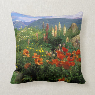 USA, Colorado, Crested Butte. Poppies and lupine Throw Pillow