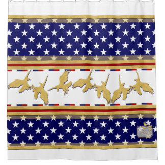 USA Colors Gold Eagles Stars White Shower Curtain