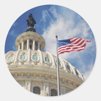 USA, Columbia, Washington DC, Capitol Building Classic Round Sticker