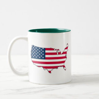 USA Country Flag Two-Tone Coffee Mug