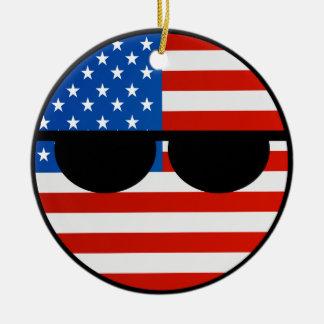 USA Countryball Round Ceramic Ornament