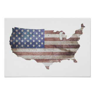 USA Distressed Flag Poster Customizable