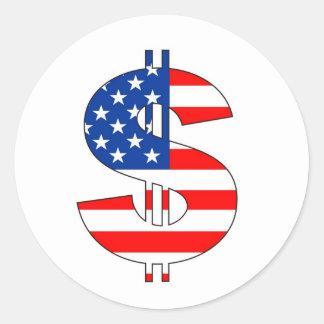 usa dollar symbol money sign classic round sticker