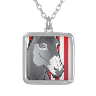 USA Donkey, Democrat Pride Silver Plated Necklace
