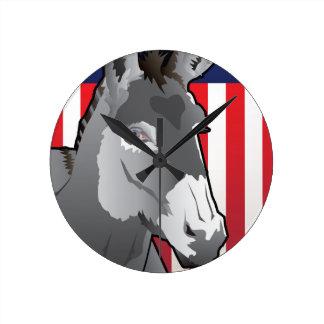 USA Donkey, Democrat Pride Wall Clock