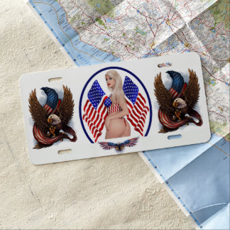 USA EAGLES & PIN UP GIRL LICENSE PLATE