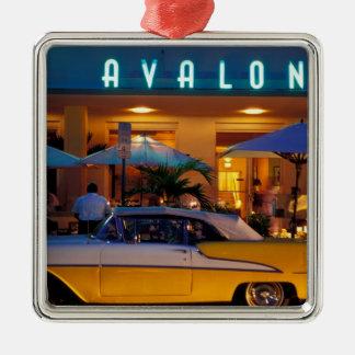 USA, FL, Miami, South Beach at night. Metal Ornament