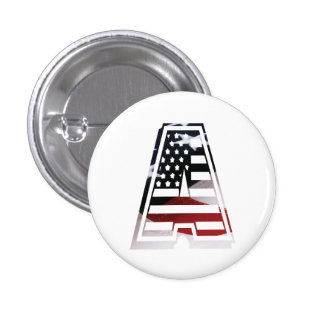 USA Flag American Initial Monogram A 1 Inch Round Button