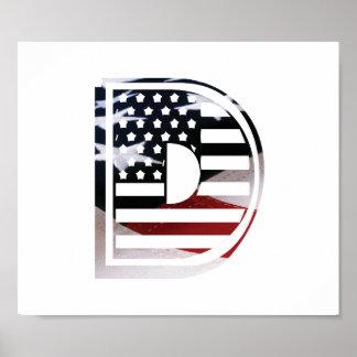 USA Flag American Initial Monogram D Poster