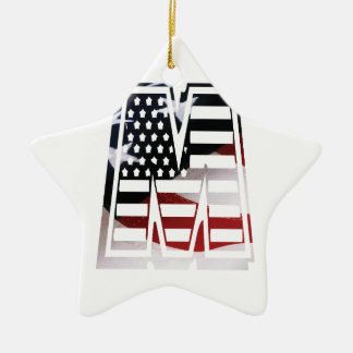USA Flag American Initial Monogram M Ceramic Star Ornament