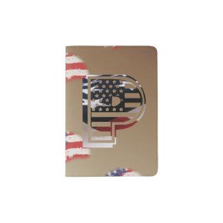 USA Flag American Initial Monogram P Passport Holder