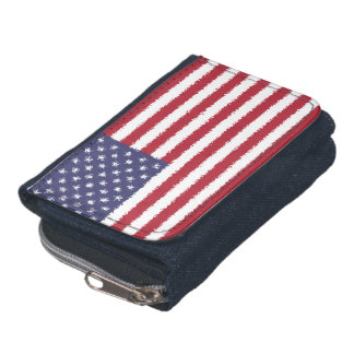 USA Flag American Patriotic Denim Wallet