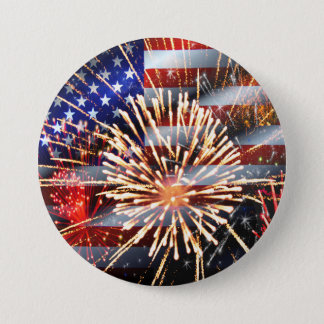 USA Flag and Fireworks 3 Inch Round Button