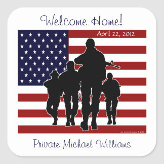 USA Flag and Soldiers Welcome Home Name Stickers