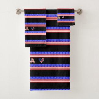 Usa flag bath towel set