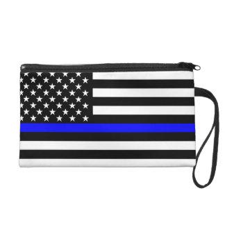 USA Flag Black and White Thin Blue Line Decor Wristlet