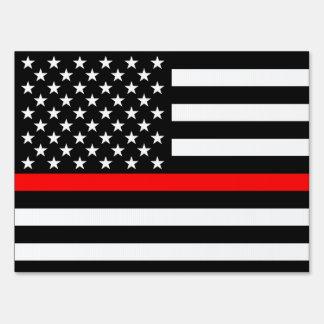 USA Flag Black and White Thin Red Line Decor