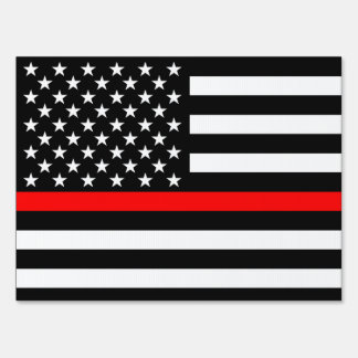 USA Flag Black and White Thin Red Line Decor Sign