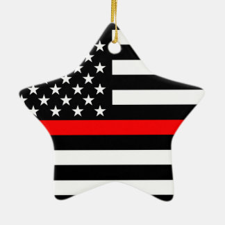 USA Flag Black and White Thin Red Line on a Ceramic Ornament