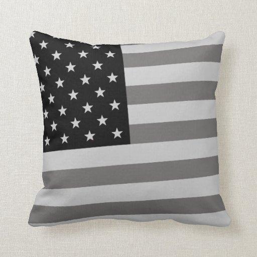 USA Flag Black & White Pillow