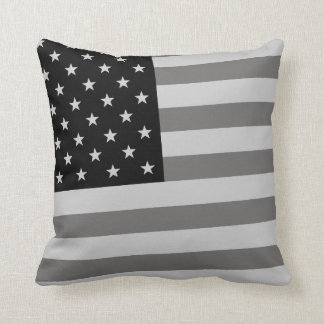 USA Flag Black & White Throw Pillow