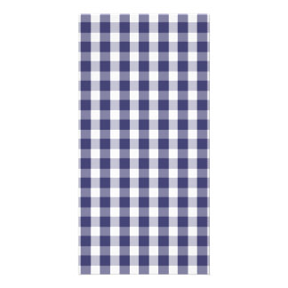 USA Flag Blue and White Gingham Checked Customized Photo Card