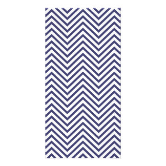 USA Flag Blue & White Wavy ZigZag Chevron Stripes Photo Card Template