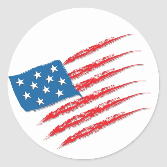 Usa flag brush strokes classic round sticker