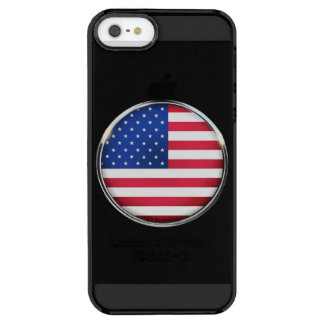 USA Flag Button iPhone SE/5/5S Clear Case