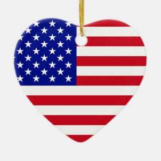 USA Flag Ceramic Heart Ornament
