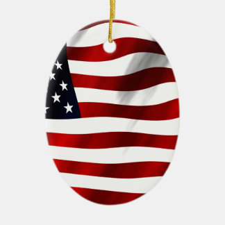 USA Flag Ceramic Oval Ornament