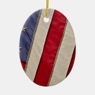 USA FLAG CERAMIC OVAL ORNAMENT