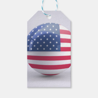 usa-flag circle design gift tags