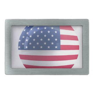 usa-flag circle design rectangular belt buckle