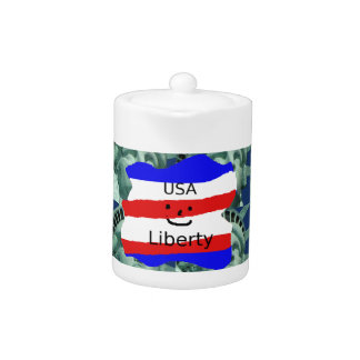 USA Flag Colors With Statue Of Liberty
